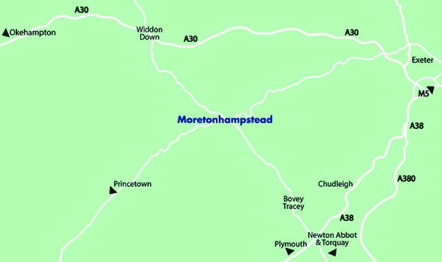 Map of Moretonhampstead Motor Museum on Dartmoor